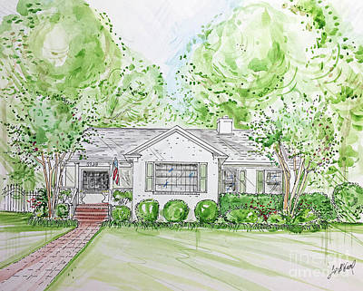 Mixed Media - House Rendering Sample H24 by Lizi Beard-Ward