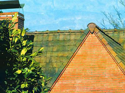 Photograph - House Roof Garden Tree Fireplace  by PixBreak Art