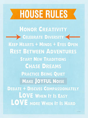 Signed Mixed Media - House Rules-contemporary by Linda Woods