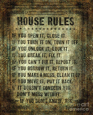 House Rules On Aged Vintage Retro Looking Parchment Art Print by Bruce Stanfield