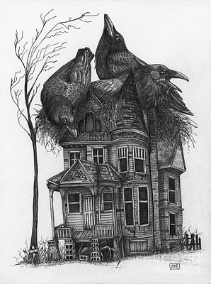 Haunted House Drawing - House Sitter No.4 by June Piety