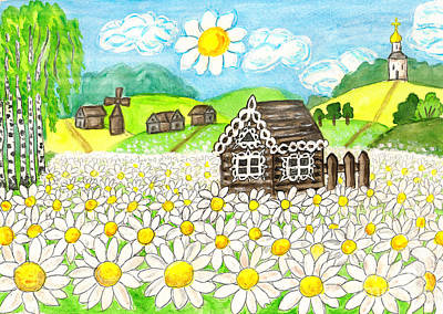 Painting - House With Camomiles, Painting by Irina Afonskaya