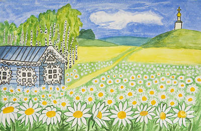 Painting - House With Camomiles, Russia by Irina Afonskaya