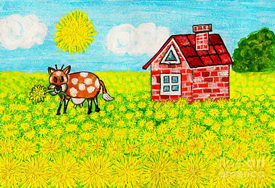 Painting - House With Dandelions, Painting by Irina Afonskaya