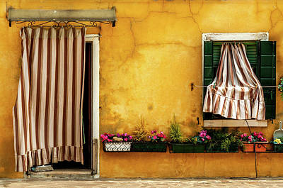 House With Drapes Burano Italy Art Print by Xavier Cardell