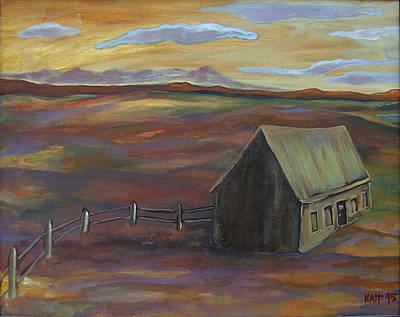 Painting - House With Fence And Sky by Katt Yanda