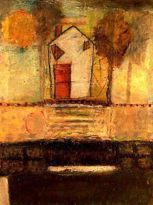 House With Red Door Large Image Art Print by Lynn Bregman-Blass