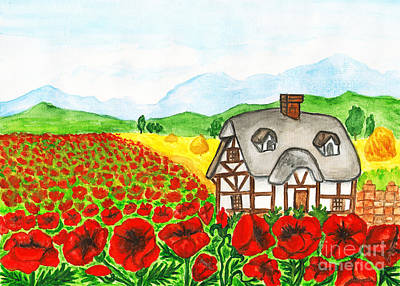 Painting - House With Red Poppies, Painting by Irina Afonskaya