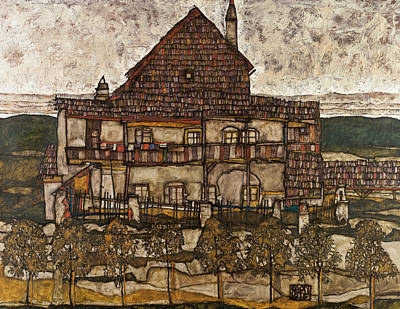 Shingles Painting - House With Shingle Roof  by Egon Schiele