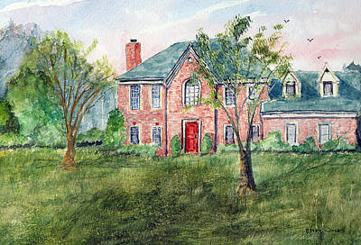 Impressionistic Landscape Drawing - House With The Red Door - Watercolor by Barry Jones