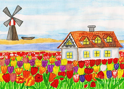 Painting - House With Tulips  In Holland Painting by Irina Afonskaya