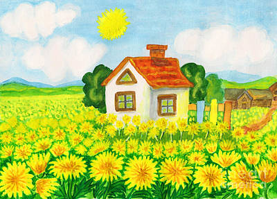 Painting - House With Yellow Dandelions by Irina Afonskaya