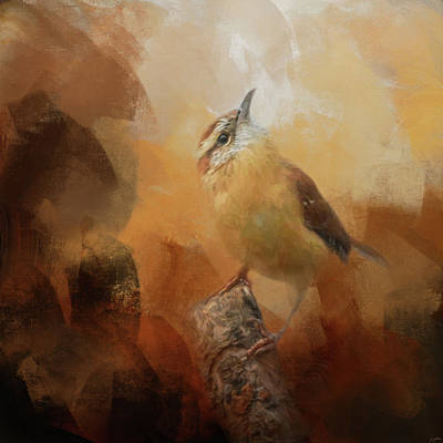 Painting - House Wren In Autumn by Jai Johnson