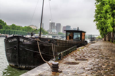 Houseboat Along The Seine Art Print by Georgia Fowler