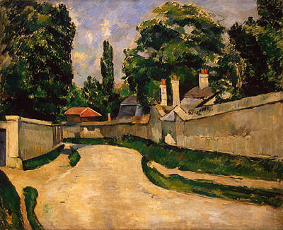Chimney Painting - Houses Along A Road by Paul Cezanne