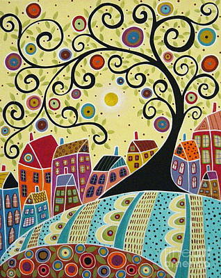 Primitive Folk Art Painting - Houses And A Swirl Tree by Karla Gerard