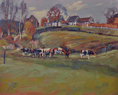 Hill Painting - Houses And Cows In Schweiberg by Nop Briex