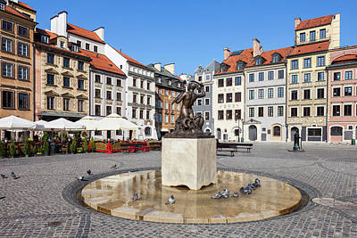 Photograph - Houses And Mermaid On Warsaw Old Town Square by Artur Bogacki