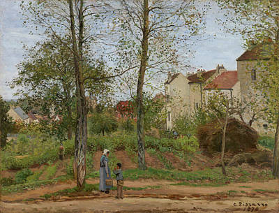 Pathway Painting - Houses At Bougival, Autumn by Camille Pissarro