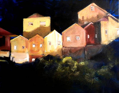 Houses At Sunset Art Print by Paula Strother