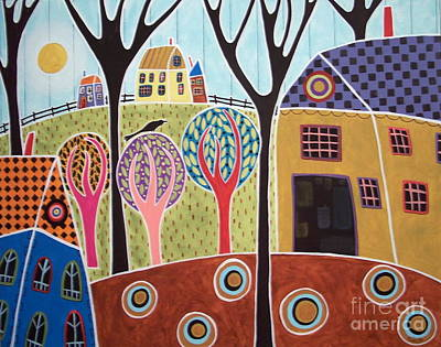 Contemporary Barn Landscape Painting - Houses Barn And Trees by Karla Gerard