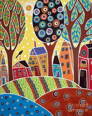 Blackbird Painting - Houses Barn Landscape by Karla Gerard