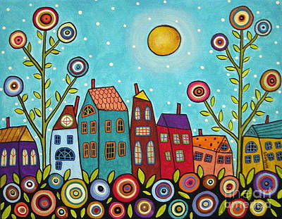 Folk Art Flowers Painting - Houses Blooms And A Moon by Karla Gerard