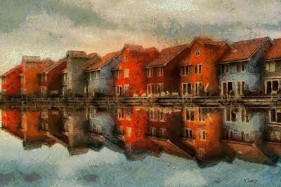 Houses By The Sea Art Print
