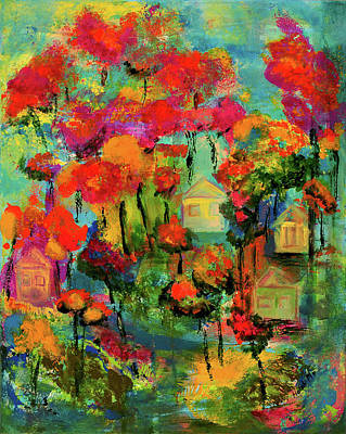 Painting - Houses In Forest by Haleh Mahbod