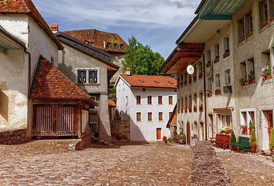 Photograph - Houses In Gruyeres Village, Fribourg, Switzerland by Elenarts - Elena Duvernay photo