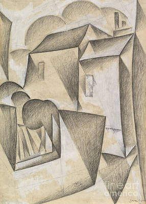 Gouache Abstract Painting - Houses In Paris, Place Ravignan, 1911  by Juan Gris