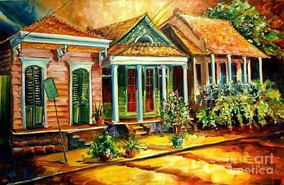 New Orleans Shotgun Houses Painting - Houses In The Marigny by Diane Millsap