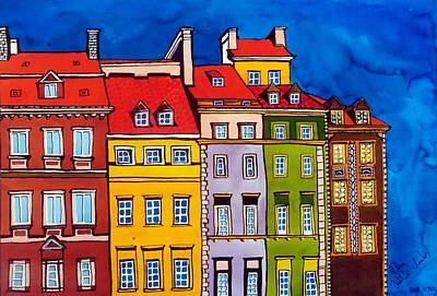 Painting - Houses In The Oldtown Of Warsaw by Dora Hathazi Mendes