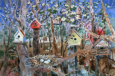 Painting - Houses In The Woods by Kathleen  Gwinnett