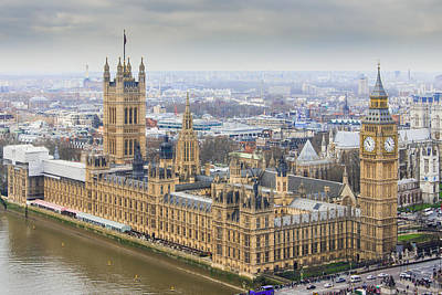 Big Ben Photograph - Houses Of Parliament As Seen From The London Eye by AMB Fine Art Photography