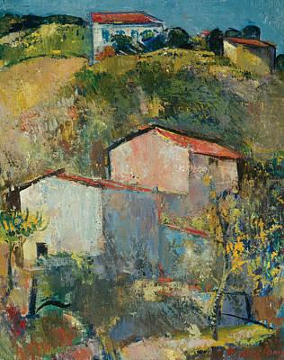 Houses On A Slope Art Print by Anton Faistauer