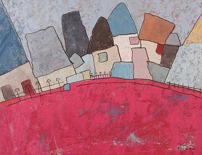 Self-actualization Painting - Houses On Hill by Sigalit Butterfly Benjamin
