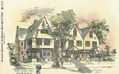 Cincinnati Painting - Houses On Locust Street Walnut Hills Cincinnati Ohio 1888 by SE DesJardins