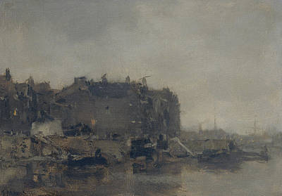 Houses On The Prins Hendrikkade In Amsterdam On A Foggy Day Art Print