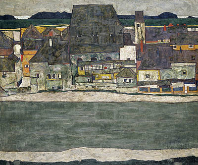 Egon Schiele Painting - Houses On The River, The Old Town by Egon Schiele