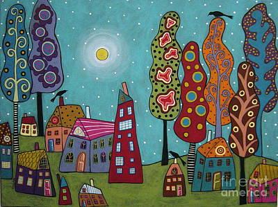 Houses Trees And Birds Art Print by Karla Gerard