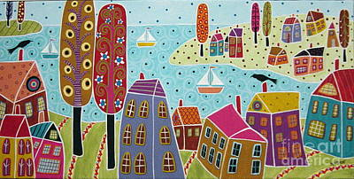 Folk Art Painting - Houses Trees And Sailboats By The Bay by Karla Gerard