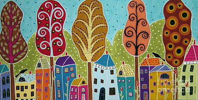 Folk Painting - Houses Trees Birds Painting By Karla G by Karla Gerard