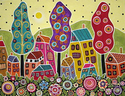 Folk Art Mixed Media - Houses Trees Flowers by Karla Gerard