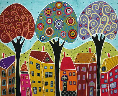 Folk Art Painting - Houses Trees Landscape by Karla Gerard