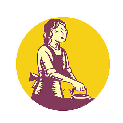 Housewife Ironing Circle Woodcut Art Print