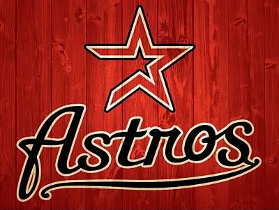 Athletes Mixed Media - Houston Astros Barn Door by Dan Sproul