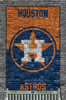 Houston Astros Brick Wall Art Print by Joe Hamilton