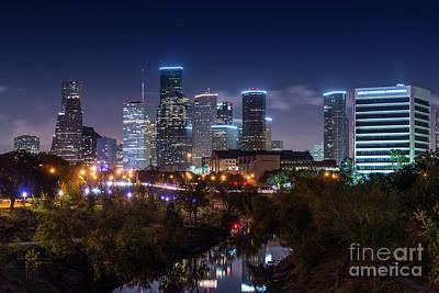 Skylines Photograph - Houston Buffalo Bayou After Dark by Tod and Cynthia Grubbs