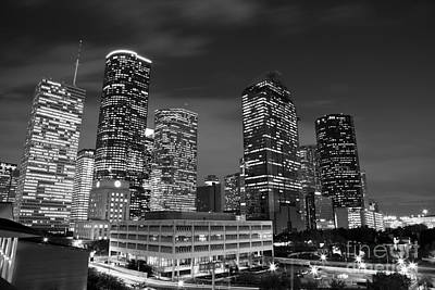 Photograph - Houston By Night In Black And White by Olivier Steiner